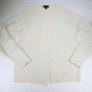 Eddie Bauer Womens Cardigan Sweater Cream Open
